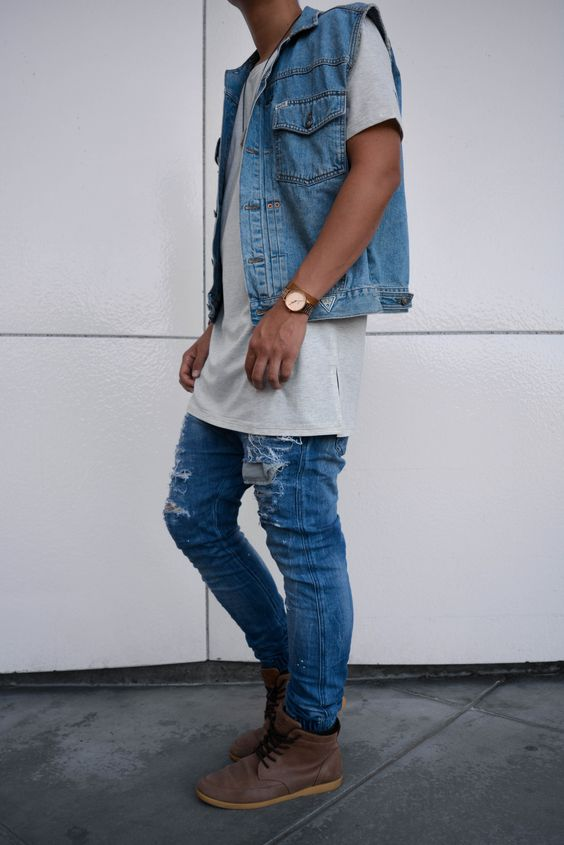 How To Pull Off A Denim Vest Right Now- URBANCREWS